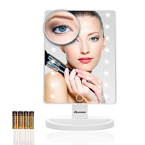 Miserwe Vanity Mirror with Lights Touch Screen 16 Led Lighted Makeup Mirror with 4 AA Battery Large Size Removable 180 Degree Rotation Mirror with Lights and High Definition Clarity Image