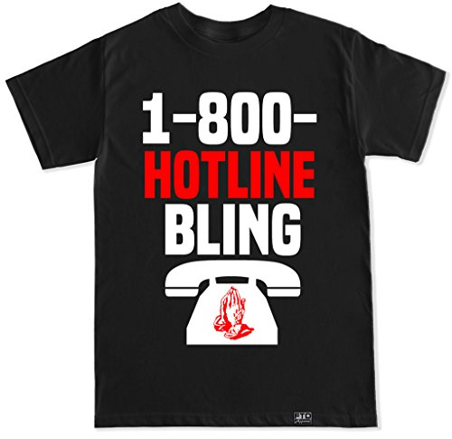 FTD Apparel Men's 1 800 Hotline Bling T Shirt - Medium Black