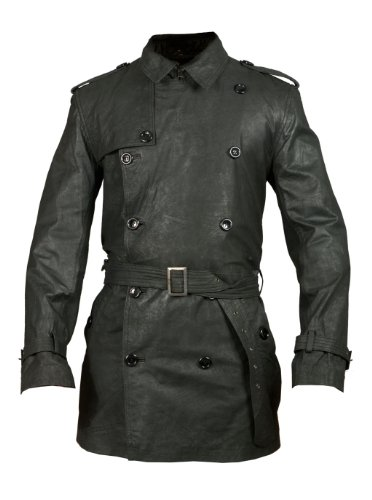 FactoryExtreme Debutant Mens Black Leather Trench Coat, Medium, Black Button Down Leather Coat