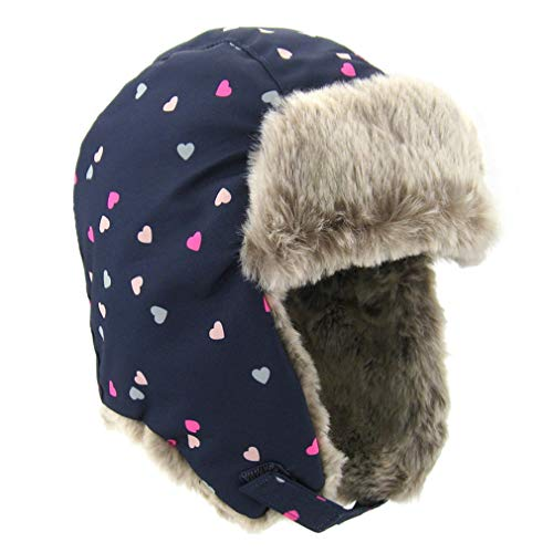 Kids Bomber Hats Child Heart Print Pilot Aviator Hat Warm Ear Protection Cap