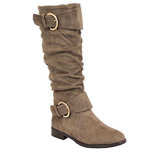 Ladies Boots Womens Long Knee Calf Suede Look Shoes Buckle Fleece Lined Winter Khaki - Y810