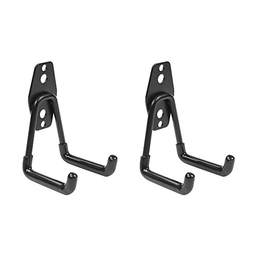 (WINSOON Heavy Duty Double Utility Garage Hooks Wall Mount Hook Set Tool Tack Storage (2 x Samall U Shape, Black))