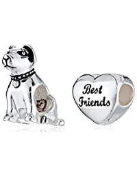 CHARMED BEADS Sterling Silver Dog Bead Charm Set