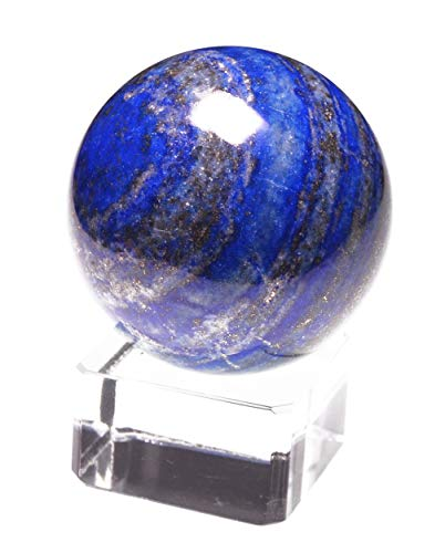 yippee 20~30mm White Crystal Quartz,Rose Pink Quartz,Tiger's Eye,Lapis Lazuli, Green Aventurine,Amethyst,Citrine,Black Obsidian Gem Stone Sphere- (1 Point) with Glass Stand (Lapis Lazuli) ()