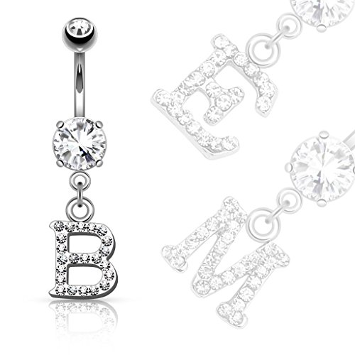 Covet Jewelry Clear Gem Paved Initial Dangle Navel Ring (J) (Initial Belly Dangle Ring)