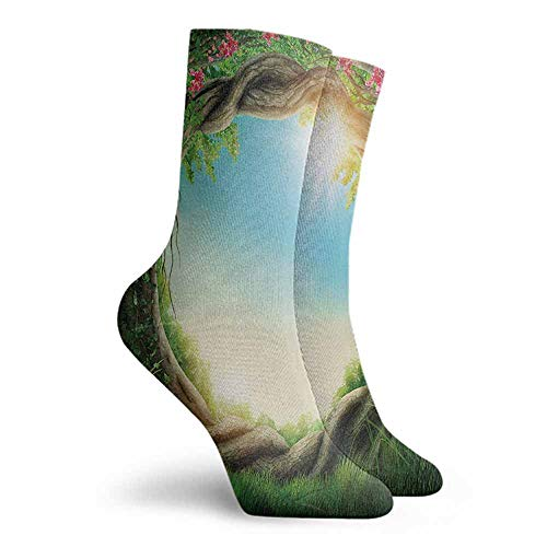 Tree Men Novelty Work Socks Green Pink - Cocoa Caddy