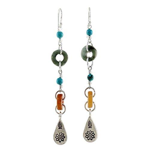 NOVICA Multi-Gem Blue Calcite .925 Sterling Silver Beaded Dangle Earrings, 'Hill Tribe Adventure' -