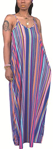 Women's Sexy Spaghetti Strap Scoop Neck Plus Size Dresses Casual Loose leeveless Stretchy Long Maxi Sundresses Comfy Floor Length Multi-Color Pinstripe with Pockets