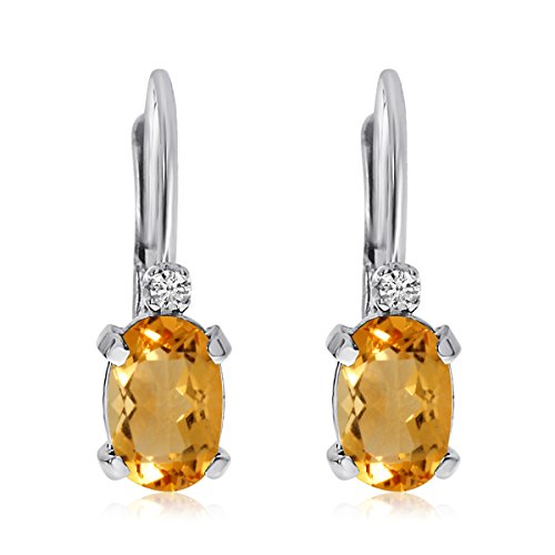 - 14k White Gold Oval Citrine and Diamond Leverback Earrings
