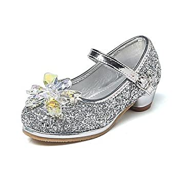 b4674feb35adff Wuyulunbi  Mädchen Kinderschuhe Glitter Frühling Herbst Komfort Flower Girl  Schuhe winzige Heels für Teens Heels