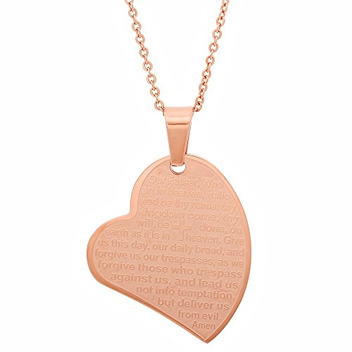 Ladies 18kt Gold Rose Plated Stainless Steel Our Father Lords Prayer Pendant Slanted Heart Comes With 18