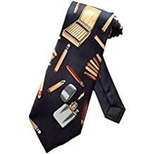Parquet Mens Cigar Aficionado Smoker Necktie - Navy Blue - One Size Neck Tie
