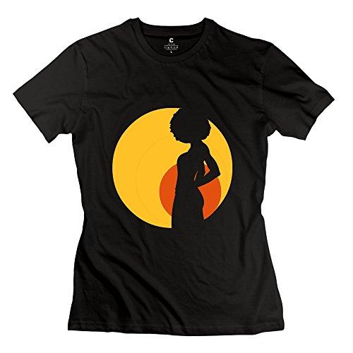 Jiuzhou Cute Retro Afro Gir T Shirt -Women's Tshirts Size L Black