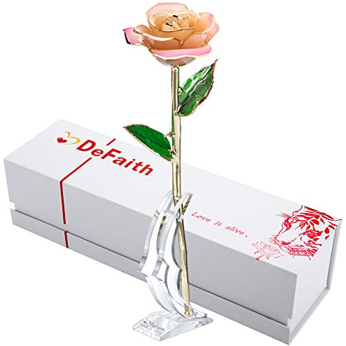 DEFAITH Real Rose 24K Gold Dipped, Forever Gifts for Her Valentine