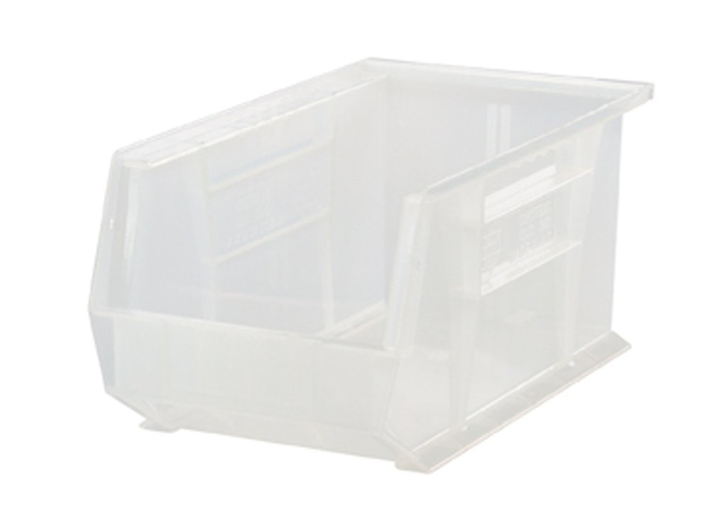 Clear Quantum QUS240 Plastic Storage Stacking Ultra Bin, 14-Inch by 8-Inch by 7-Inch, bluee, Case of 12
