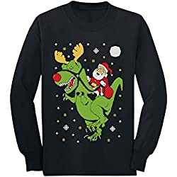 2dd787b376da53 Ugly Christmas Sweater Dinosaur T-Rex Santa Ride Toddler/Kids Black