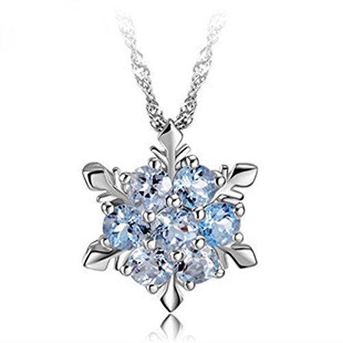 Women Girls Jewelry Elsa Frozen Snowflake Sterling Silver Necklace With Blue - Jewelry