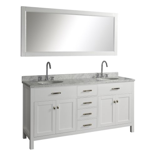 Virtu Usa Md 2072 Wmro Wh Caroline 72 Inch Double Sink Bathroom Vanity With Italian White Carrera Marble Countertop And Mirror  White Finish