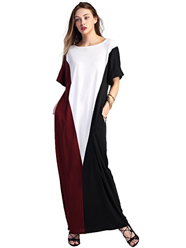 Verdusa Women's Short Sleeve Color Block Pockets Long Maxi Dress Burgundy-White (Color Block Short Sleeve Dress)