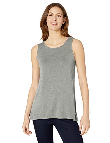 Amazon Essentials Women's Solid Swing Tank, Light Grey Heather, XL