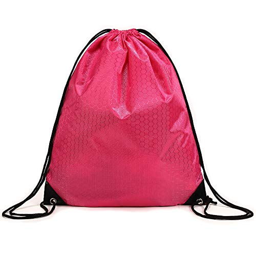 Cinch Bags Drawstring Backpack-1,4,8,10 Pack Not See-through Pull String Bag-Football Pattern (Magenta-1, ()