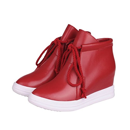 AllhqFashion Womens High-Heels Soft Material Ankle-high Solid Lace-up Boots Red vHjevSnI5l