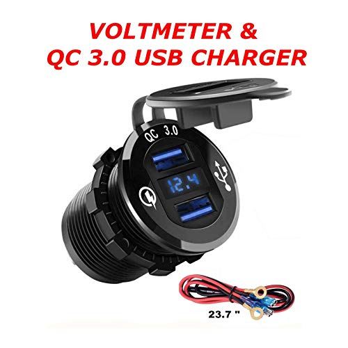 QC 3.0 Metal Housing Dual USB Socket Charger W/V-Meter for Boats, Polaris RZR 900, RZR 1000, Ranger, Mobile Home, RV, Can Am Spyders, (QC 3.0 Metal - Sea Housings