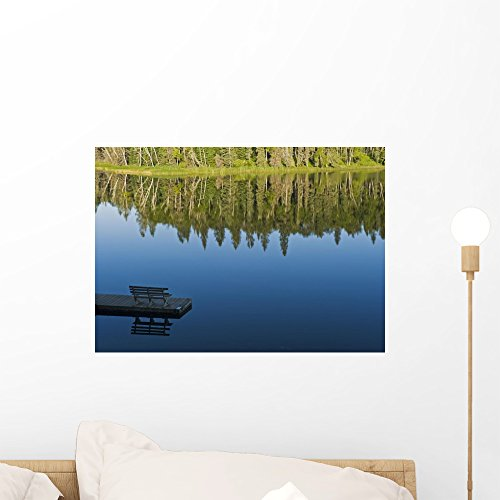 Wallmonkeys Bench on a Dock and Trees Reflected in Water Wall Decal Peel and Stick Graphic WM61715 (18 in W x 13 in H)