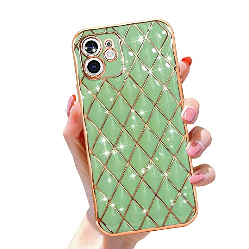 Gimigo Designed for iPhone 12 Case for Women/Girl, Cute Sparkle Luxurly Plating Lattice Design, Full Camera Lens Protection + Shockproof Edge Bumper TPU Cover Case for iPhone 12 [6.1 inches] -Green