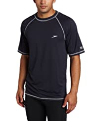Speedo Men's UPF 50+ Easy Short Sleeve Rashguard Swim Tee, New Navy, 3X