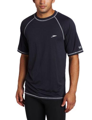 Speedo Men's UPF 50+ Easy Short Sleeve Rashguard Swim Tee, New Navy, Large