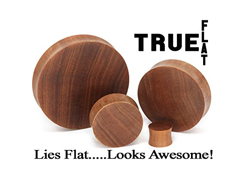 Solid Wood Plugs - Elementals Organics Saba Solid Wood Plugs For Ear - Smooth Wooden Ear Gauge, 40mm, Price Per 1 Earring
