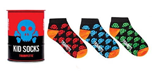 Trumpette SKULL Kid Socks in a Can Coin Bank 3 prs Boy Girl Size Medium Age 4-7 yrs