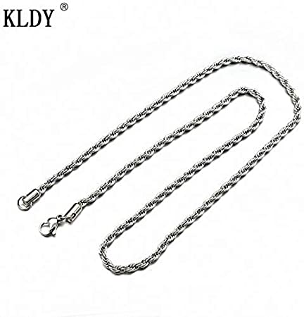 Gimax Chain Necklaces Metal Color: Steel 3mm, Length: 45cm 18inch Steel Jewelry 2mm//3mm//4mm//5mm//6mm Width Stainless Steel Twited Singapore Chain Necklace for men Silver Chain Men women Jewelry
