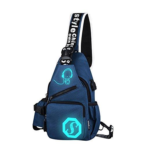 Kukul Bolsas de Oxford para hombres, Nuevo Bolsas de deporte - Noctilucent Cartoon Shoulder Chest Crossbody Bag (Azul) Azul