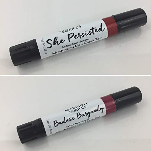 She Persisted + Badass Burgundy, 2-pack Organic Moisturizing Lip Tint ()