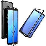 Shopfic Magnetic Metal Frame Tempered Glass Hard Back Cover with Built-in Magnets Bumper for Samsung Galaxy S9 (Black)