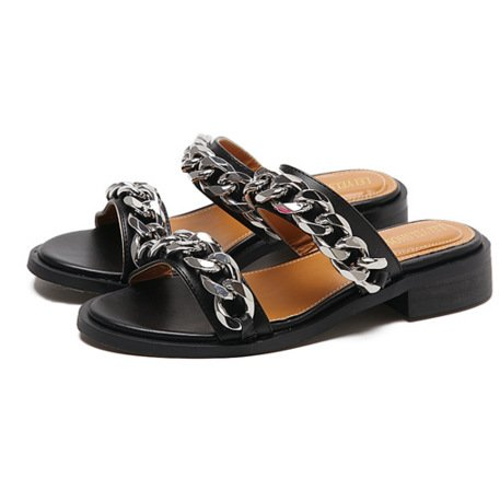 Atividades Zyushiz Preguiçoso Couro Humano Lazer Sapatos Baotou Plana Chinelos De Fundo Sandálias Sandálias, Preto (drag & Drop) 38eu
