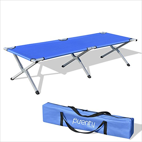 Purenity Folding Military Bed Portable Sport Camping COT With Free Storage Bag (Blue)