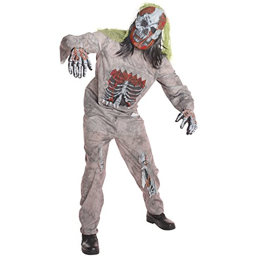 Mens Infected Zombie Skeleton Costume - 4 Piece Quality Costume,STD (42-44 Inch/107-112 cm Chest),Gray