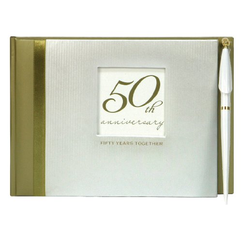 50th Wedding Anniversary Guest Book - C.R. Gibson Guest Book with Pen, Space for 500 Names, Measures 9.75