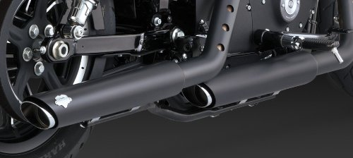 14-19 HARLEY XL883N: Vance & Hines Twin Slash Rounds Slip-On Exhaust (Black / 3'') by Vance & Hines (Image #4)