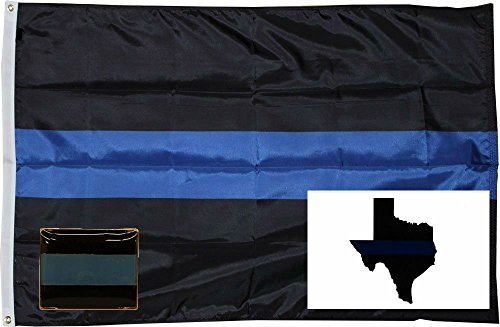 - ALBATROS 3 ft x 5 ft Police Thin Blue Line Flag Decal Sticker Lapel Pin Set 2 for Home and Parades, Official Party, All Weather Indoors Outdoors