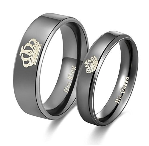 2pcs Moneekar Jewels Her King His Queen Titanium Stainless Steel Black Band Set Anniversary Engagement Promise Valentines Day Rings for Couples