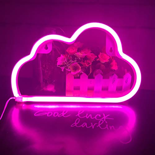 QiaoFei Ins/Chic Style Neon Light, Home Decor Lamp,LED Cloud Sign Shaped Decor Light,Wall Decor for Christmas,Birthday Party,Kids Room, Living Room, Wedding Party Decor (Purple Pink)