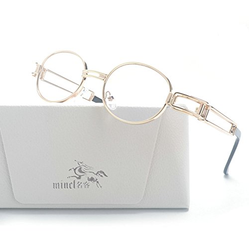 MINCL/Vintage Designer Fashion Sunglasses Oval Frame UV Protection (gold-clear, - Frame Oval Glasses