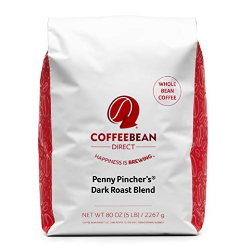 Coffee Bean Direct Penny Pincher's Dark Roast Blend, Whole Bean, 5 lb Bag