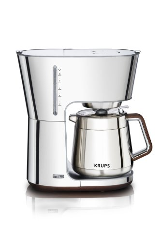 Krups Espresso Pods - KRUPS KT600 Silver Art Collection Thermal Carafe Coffee Maker with Chrome Stainless Steel Housing, 10-Cup, Silver