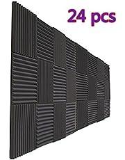 "24 Pack Charcoal Acoustic Foam Panels 1"" X 12"" X 12"" Soundproofing Studio Foam Wedge Tiles Fireproof (24 PCS, Black)"