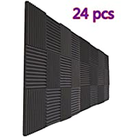 "24 Pack Charcoal Acoustic Foam Panels 1"" X 12"" X 12"" Soundproofing Studio Foam Wedge Tiles Fireproof (24 PCS, Black)"